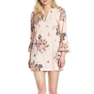 Leith Pink Floral Print Long Ruffled Sleeve SZ: XS